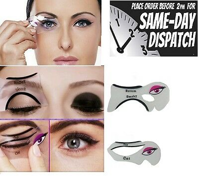 EYELINER Stencil - 2in1 Eyeshadow Guide - Smokey Cat - Quick Eye Makeup Tool Set