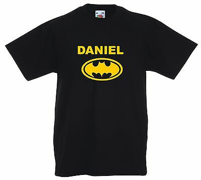 Personalised Batman T Shirt. Choice of T Shirt Colours. Free Postage.