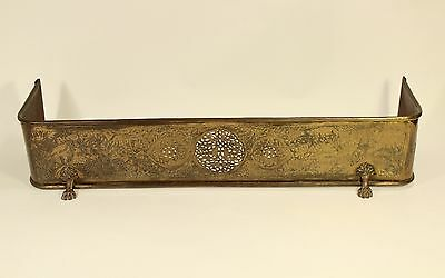 "Antique Unique Pierced Embossed Brass Ornate Footed 42"" Fireplace Fender Fence"