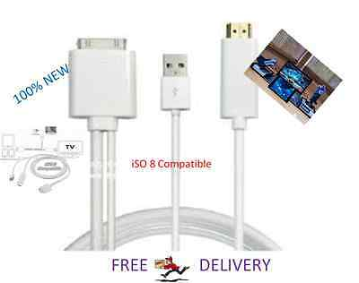 New 30 Pin Dock Connector To HDMI TV Cable Adapter With USB For IPad 1/2/3& IPod