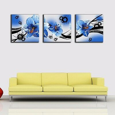 Set Of 3 Blue Flowers Stretched Canvas Prints Framed Wall Art Home Decor Gift