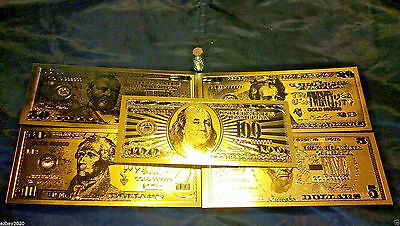FREE SHIP 7Pc.LOT 24Kt.GOLD BANKNOTES $5.$10.$20.$50.$100  REP. * s