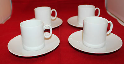 Thomas Germany Set of 4 Medallion White Espresso Demitasse Coffee Cups Saucers