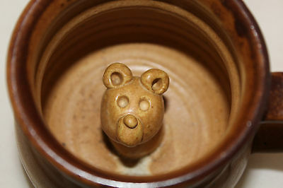 Signed Studio Pottery Two Tones Light Brown Beige 3D Bear Inside Coffee Mug Cup