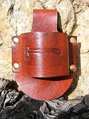 HAND-MADE EMBOSSED LEATHER BUSHCRAFT AXE HOLDER / BELT LOOP Tan GRANSFORS BRUKS