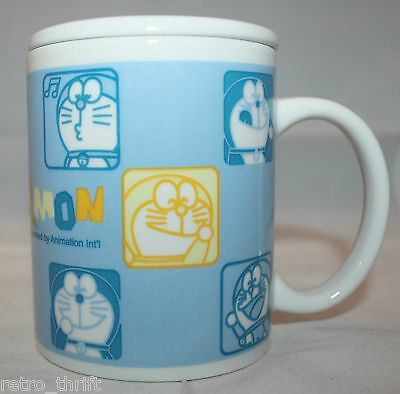 Doraemon porcelain Coffee Tea Mug Cup with Lid 1970-2002 Fujiko-pro White Blue