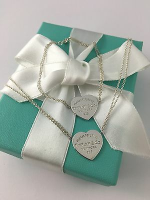 Tiffany & Co Silver Double Chain Heart Tag Necklace & Bracelet. Matching Set