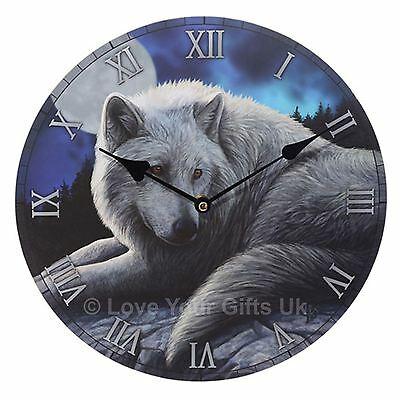 The Guardian of the North Wolf Picture Wall Clock 30cm High Lisa Parker