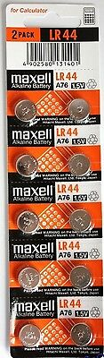 10 pcs Maxell LR44 coin cell button battery A76 303 SR44 357 AG13 675