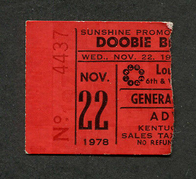 1978 Doobie Brothers Concert Ticket Stub Louisville Michael McDonald Minute by