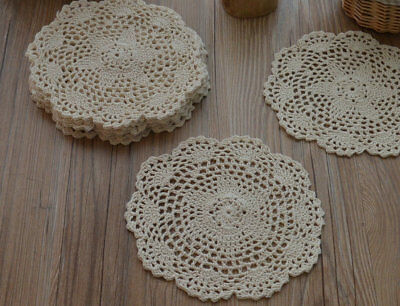 "Dozen 8"" Round Cream Hand Crochet Doilies Coasters Lot"