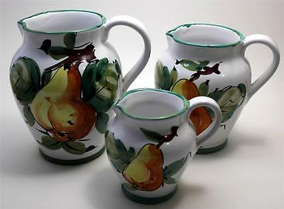 Lot of 3 Hand Painted Pitchers Made in Italy Pear Design