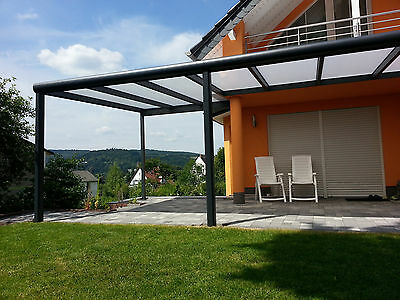 alu terrassendach 6m x 5 5 m carport berdachung glashaus sonnenschutz balkon eur. Black Bedroom Furniture Sets. Home Design Ideas