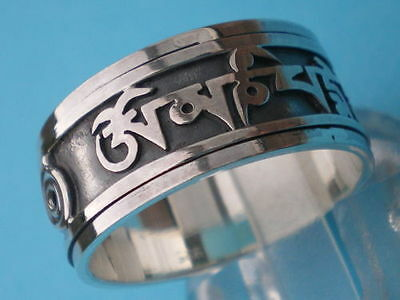 SILVER RING w SPINNING PRAYER WHEEL MANTRA(silver text)Om Mani Padme Hum-Wt 5.5g