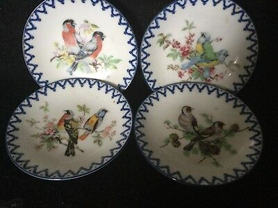 Beautifull Set Of Four Small/Miniature Porcelain Painted Exotic Birds Dishes