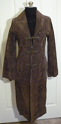 Full Length Brown Suede Coat ~ Toggles ~ Embroidered ~ Raw Edge ~ Lined ~ Small