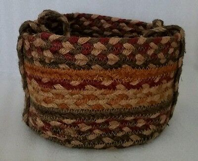 Vintage Small Wool Braided Rug Basket Handmade Primitive Style Old Fashioned