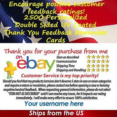 2500 DS UV GLOSS eBay SELLER PROFESSIONAL LOOK 5 STAR DSR RATING THANK YOU CARDS