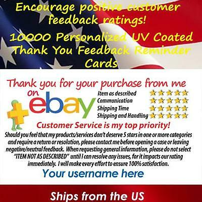10000 UV GLOSS eBay CUSTOM PRINTED SELLER ID THANK YOU BUSINESS CARDS FREE SHIP