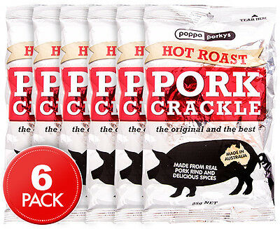 6 x Poppa Porkys Hot Roast Pork Crackle 25g