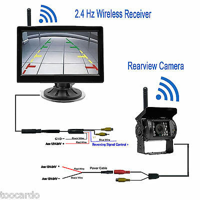 "WIRELESS 5"" MONITOR REVERSING CAMERA REAR VIEW KIT 124V 24V TRUCK,CARAVAN, Boat"