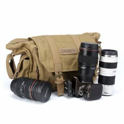 UK STOCK Canvas Digital Camera Messenger Shoulder Bag for DSLR SLR Canon Nikon