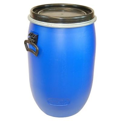 Plastic drum with open lid 60 L blue, food, water, clamping ring (22095)