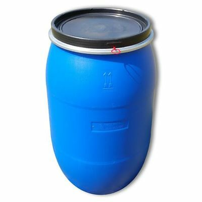 Plastic open top drum 220 L blue, clamp.ring food, water container (22119)