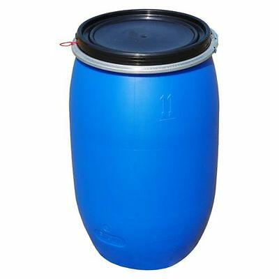 Plastic open top drum 120 L blue, clamp.ring food, water container (22120)