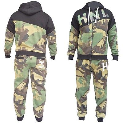 Mens & Kids Camouflage Green Hooded Fleece Tracksuit Set Upto XL & 7-13 Years