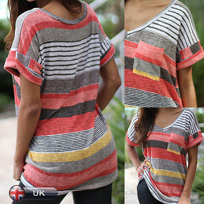 UK Womens Ladies Casual Short Sleeve V Neck T Shirt Loose Tops Blouse Size 8-14