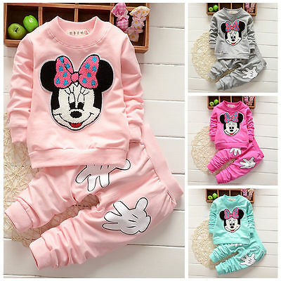 Baby Boys Girls Minnie Mouse Sweatshirt Pullover Fleece Pants Tracksuit Outfit