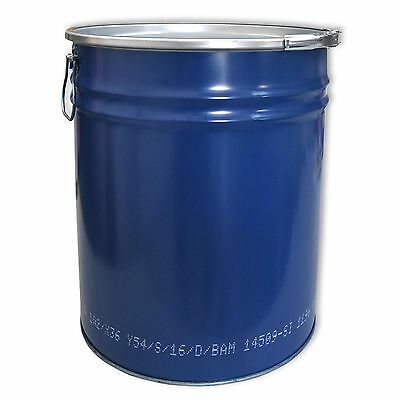 Metal drum with open lid, 30 L, blue keg, garden water tank (23020)