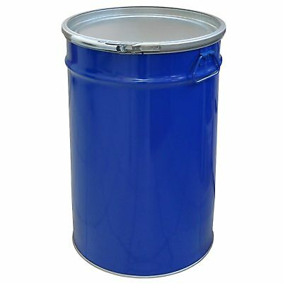 Metal drum with open lid, 60 L, blue keg, garden water tank (23021)