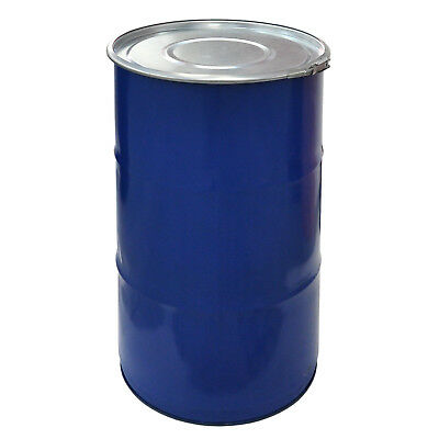 Metal drum with open lid, 120 L, blue keg, garden water tank (23022)