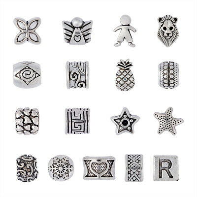 100pcs Alloy European Beads Large Hole Beads Antique Silver Colour DIY Making