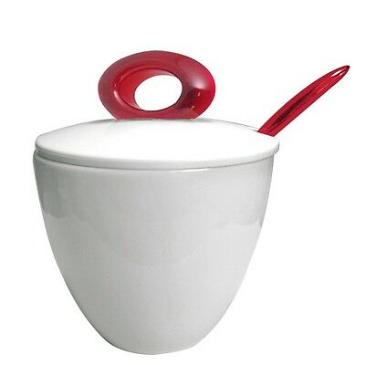 Omada M4223RR Red Ruby Spot Sugar Bowl with Cover and Tea Spoon