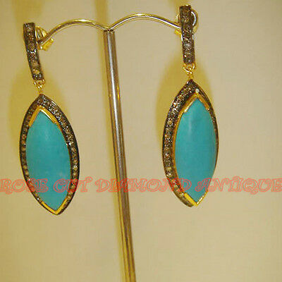 Repro 1.30Ct Antique Rose Cut Diamond Silver 925 Turquoise Dangle Party Earrings