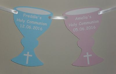 Personalised 1St Holy Communion Chalice Shape Bunting Different Colours L@@K!!!