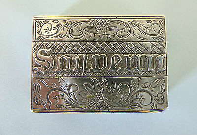 GEORGE III Solid SILVER BOOK VINAIGRETTE, London 1817. 'SOUVENIR'.
