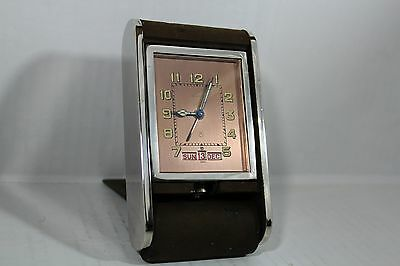 Vintage Swiss LeCoultre Day and Date Alarm Clock