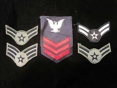 Lot of 5 MILITARY patches Navy Air Force Marines Army old vintage free shipping