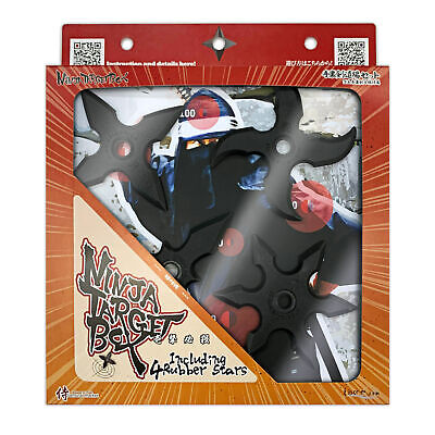 Ninja Rubber Throwing Star Set (4pcs.) - Including 1 Foam Board for Practice