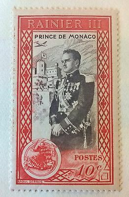 Monaco 1950 Stamp 2 Error's MH Prince Rainier III 10c red dotted line in border