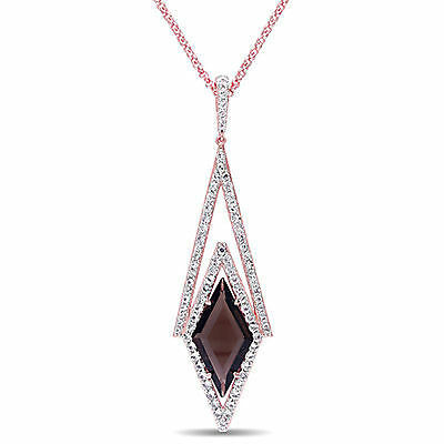 "Amour 18k Rose Gold Over Silver Quartz Necklace Pendant 16"" Chain"