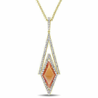 Amour 18k Yellow Gold Over Silver Citrine & White Sapphire Drop Necklace