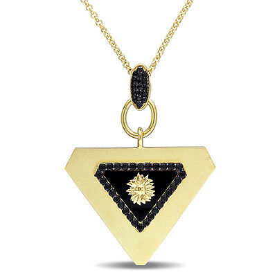 Amour 18k Yellow Gold Over Silver Agate and Black Sapphire Necklace