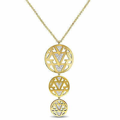 Amour 18k Yellow Gold Over Silver White Sapphire Necklace