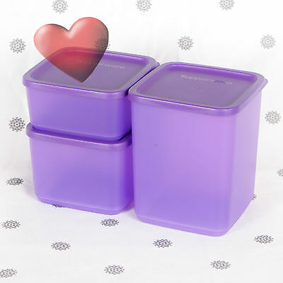 NEW Tupperware Square Rounds 3 x Purple Bulk storage containers Square Storers