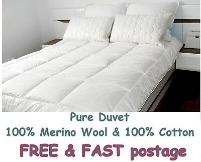MERINO WOOL PURE DUVET QUILT COTTON  - 100% NATURAL 8-10tog  ALL SIZES 500gsm